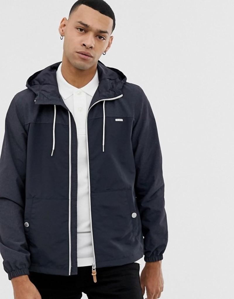 エスプリ メンズ ジャケット・ブルゾン アウター Esprit lightweight hooded jacket in navy color block Blue
