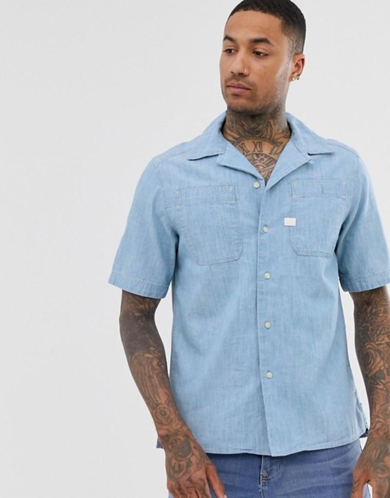 ジースター メンズ シャツ トップス G-Star Kinec organic cotton short sleeve chambray shirt in blue Blue