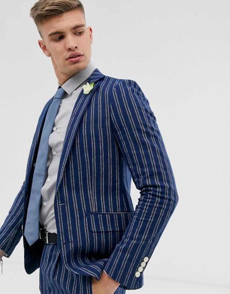 ジャンニ フェロー メンズ ジャケット・ブルゾン アウター Gianni Feraud skinny fit linen blend stripe suit jacket Blue