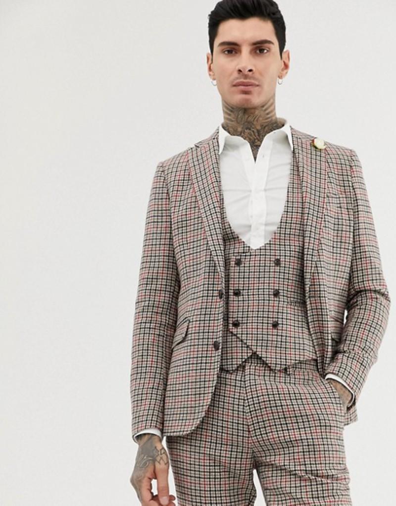 ジャンニ フェロー メンズ ジャケット・ブルゾン アウター Gianni Feraud skinny fit small check suit jacket Brown