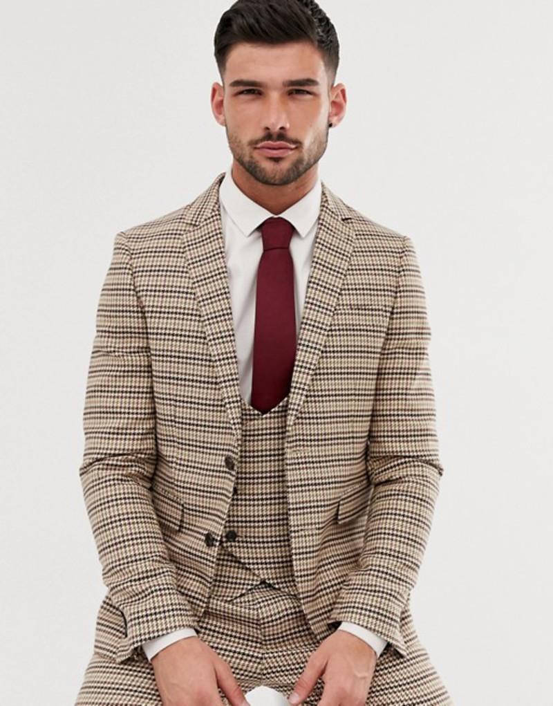 ジャンニ フェロー メンズ ジャケット・ブルゾン アウター Gianni Feraud skinny fit dog tooth check suit jacket Brown
