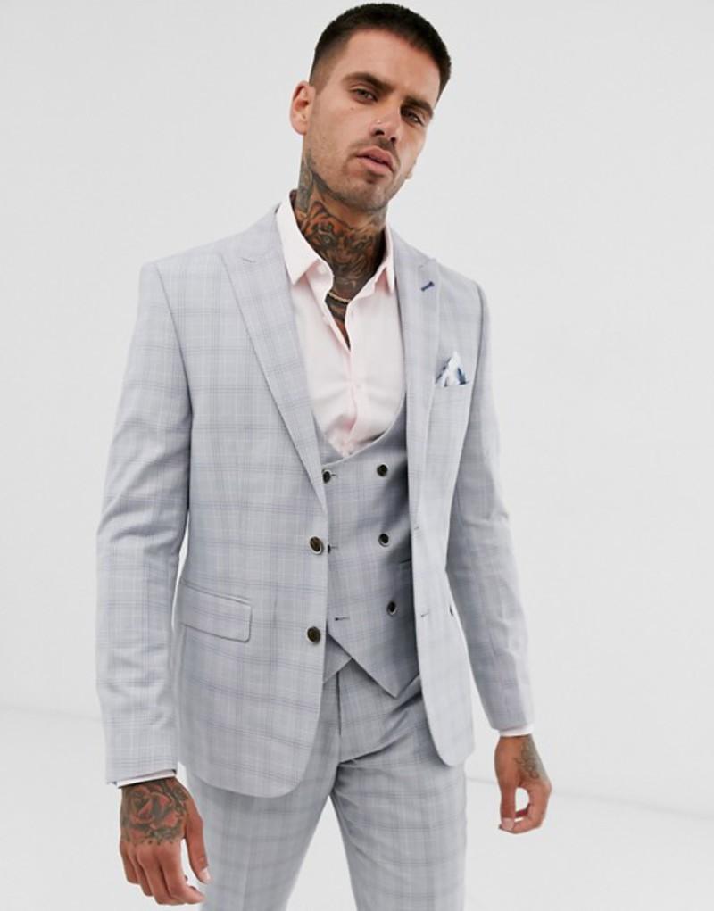 ハリー ブラウン メンズ ジャケット・ブルゾン アウター Harry Brown wedding slim fit stone blue check suit jacket Stone