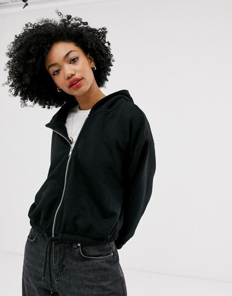 ウィークデイ レディース パーカー・スウェット アウター Weekday cropped hoodie with zip detail in black Black