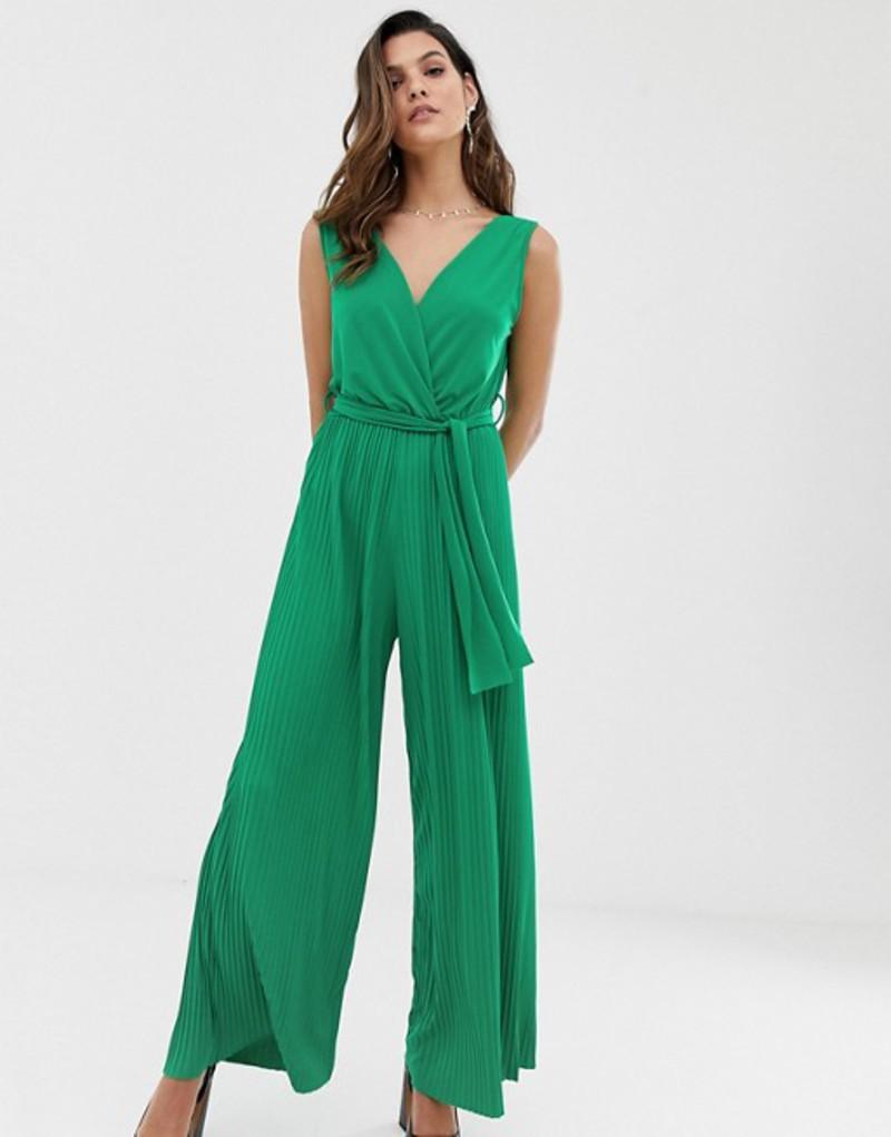 リクオリッシュ レディース ワンピース トップス Liquorish plisse jumpsuit in emerald green Emerald green