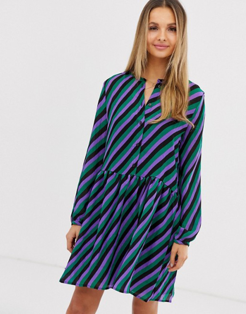 ヴィラ レディース ワンピース トップス Vila stripe drop waist shirt dress Black w stripes