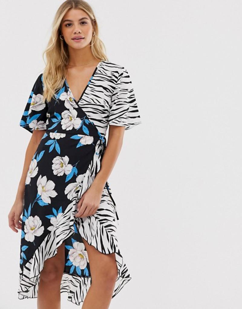 インフルエンス レディース ワンピース トップス Influence midi wrap dress in floral zebra print mix Black /multi