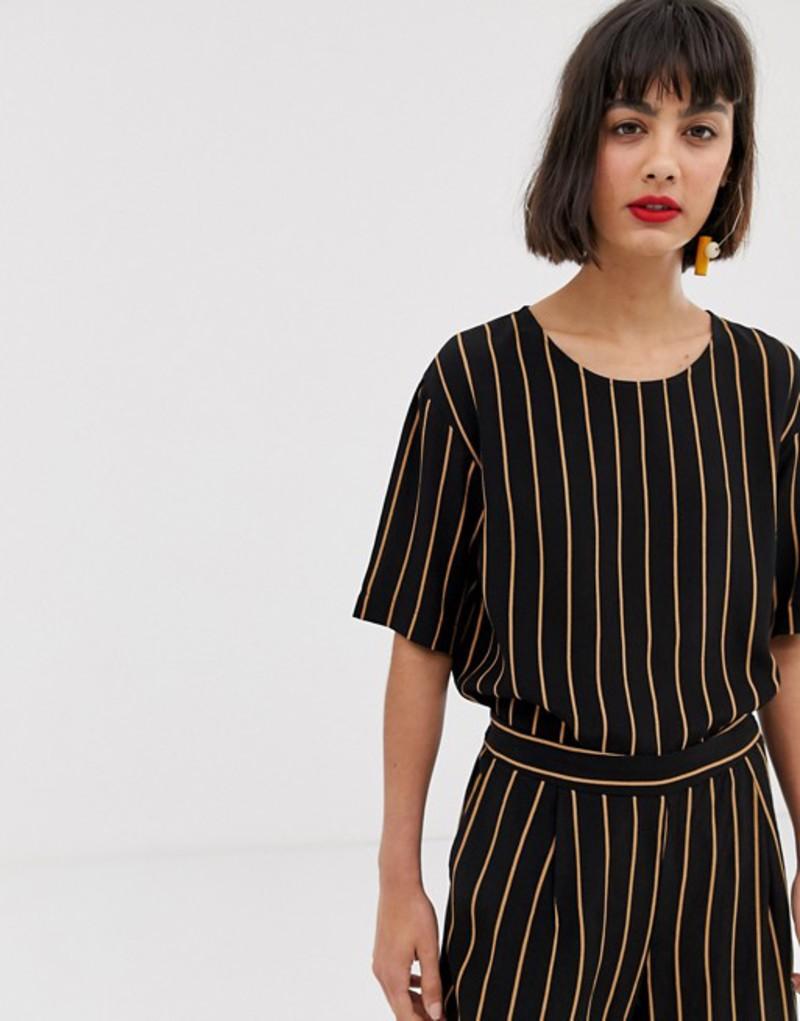 セレクティッド レディース シャツ トップス Selected stripe blouse Black/brown stripe