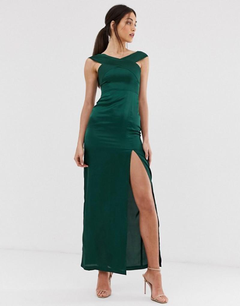 アックスパリ レディース ワンピース トップス AX Paris satin bardot maxi dress with slit Green