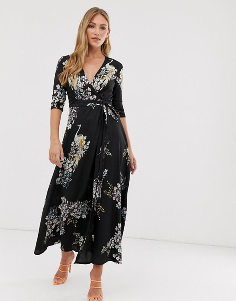 リクオリッシュ レディース ワンピース トップス Liquorish wrap maxi dress in bird print Black
