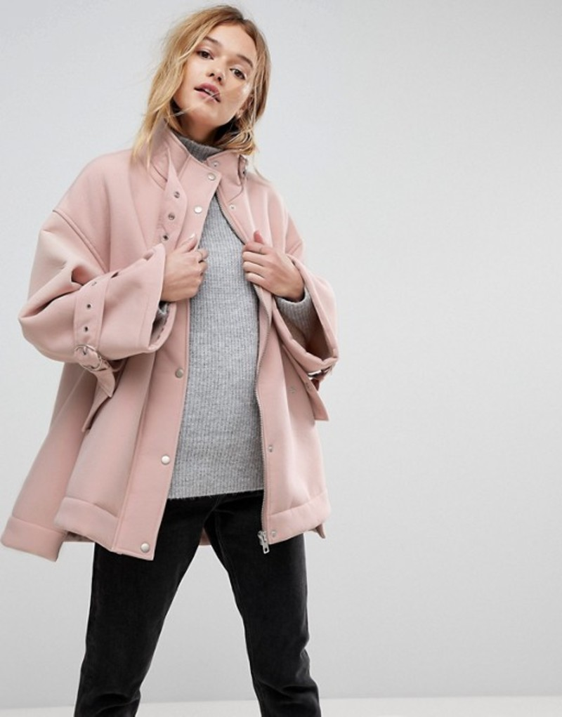 エイソス レディース ジャケット・ブルゾン アウター ASOS Bonded Jacket with Fleece Lining and Metalwear Pink