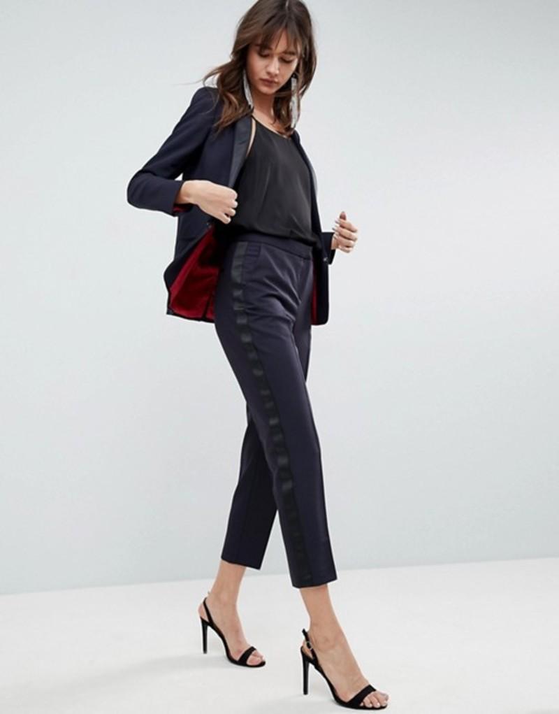エイソス レディース カジュアルパンツ ボトムス ASOS Premium Slim Tux PANTS with Contrast Trim Navy