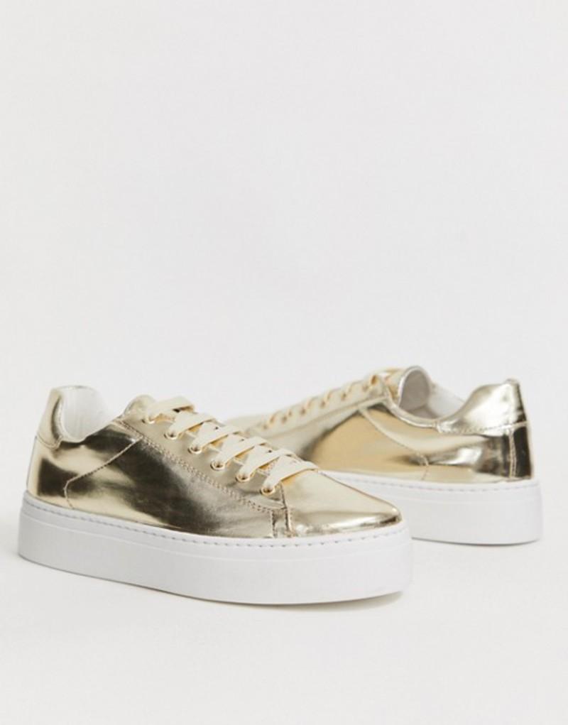 エイソス レディース スニーカー シューズ ASOS DESIGN Day Light chunky flatform lace up sneakers in gold Gold