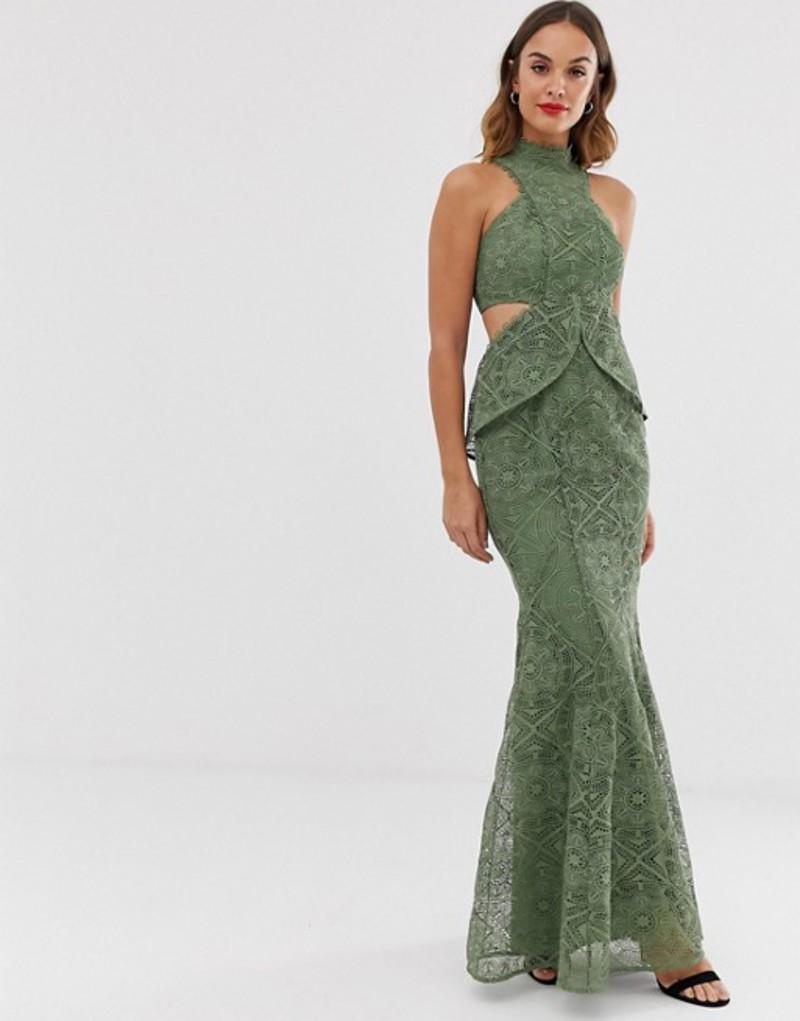エイソス レディース ワンピース トップス ASOS DESIGN high neck lace maxi dress with cut outs and fishtail hem Khaki