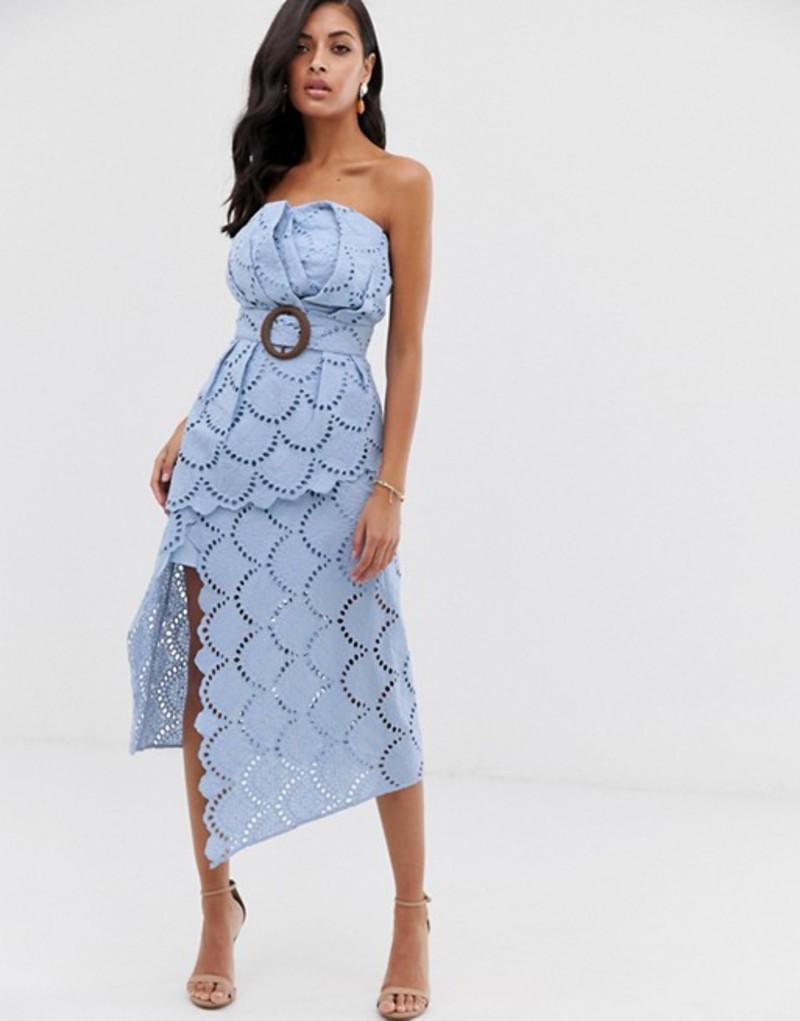 エイソス レディース ワンピース トップス ASOS DESIGN bandeau broderie midi dress with layered skirt and belt buckle Soft blue