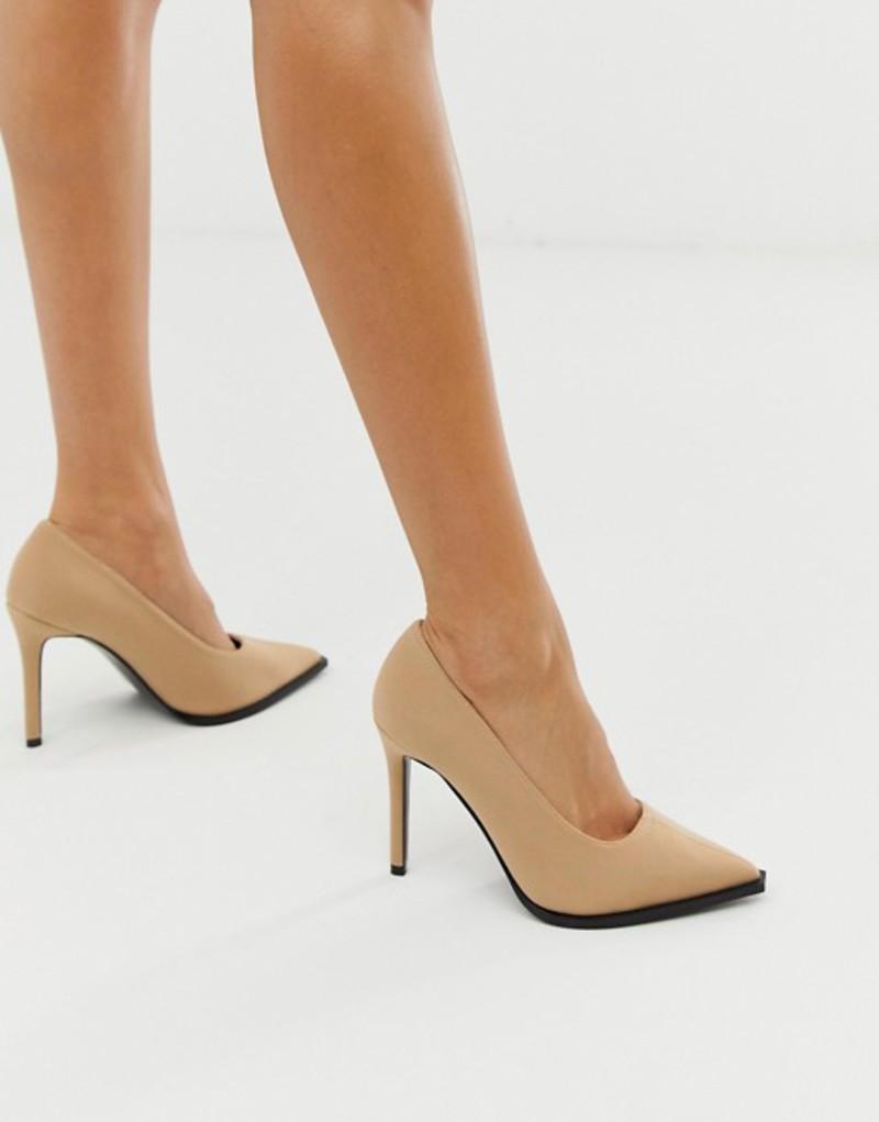 エイソス レディース ヒール シューズ ASOS DESIGN Powerful high heeled pumps in beige Beige neoprene