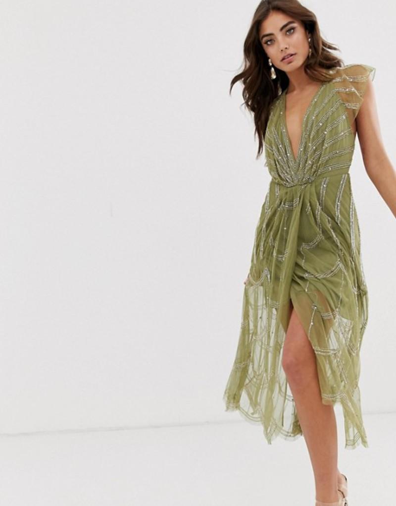 エイソス レディース ワンピース トップス ASOS DESIGN midi dress with plunge bodice and linear vintage beading Khaki