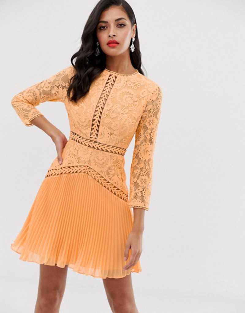 エイソス レディース ワンピース トップス ASOS DESIGN lace mini dress with trim inserts and pleated skirt Peach