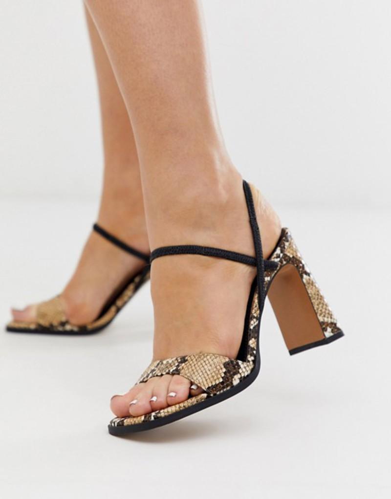 エイソス レディース ヒール シューズ ASOS DESIGN Natural slingback block heeled sandals in snake Snake