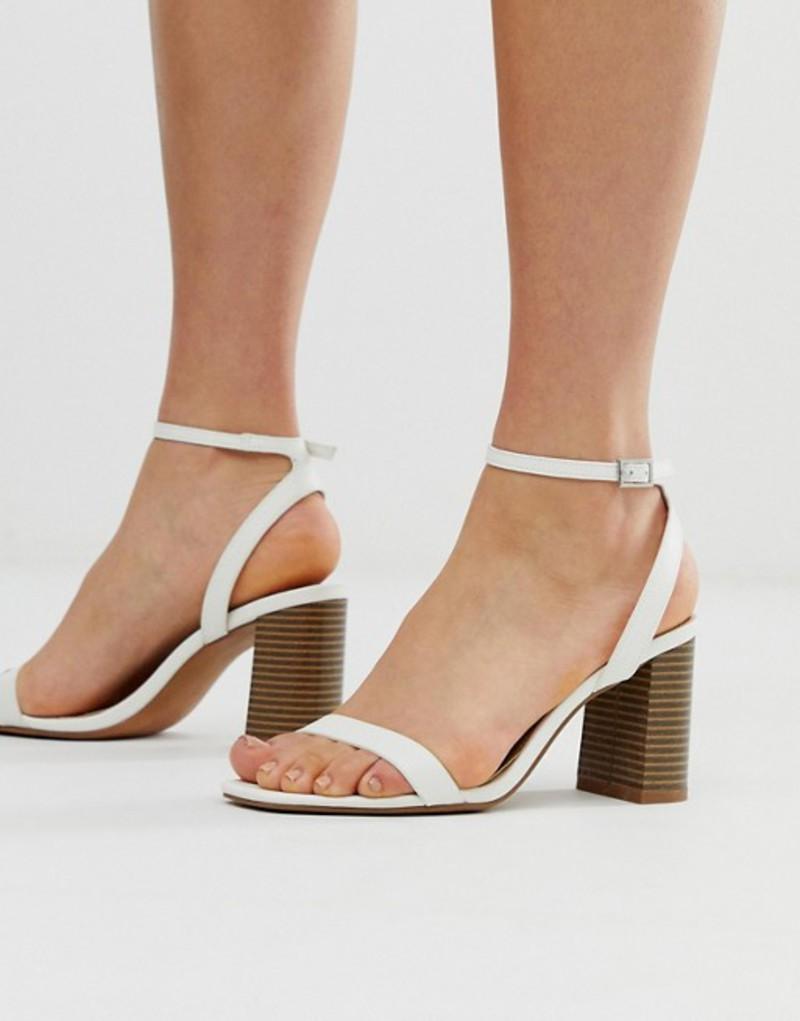 エイソス レディース ヒール シューズ ASOS DESIGN Hong Kong barely there block heeled sandals in white White