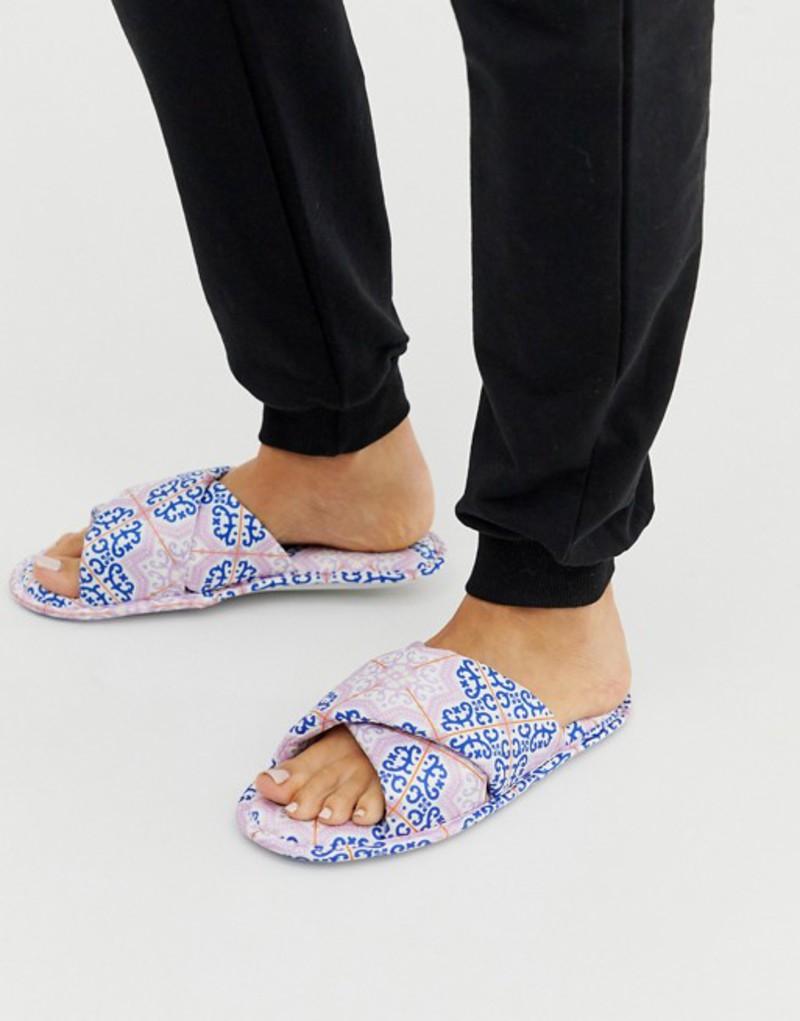 エイソス レディース サンダル シューズ ASOS DESIGN Zest cross strap satin slippers in multi print Multi print
