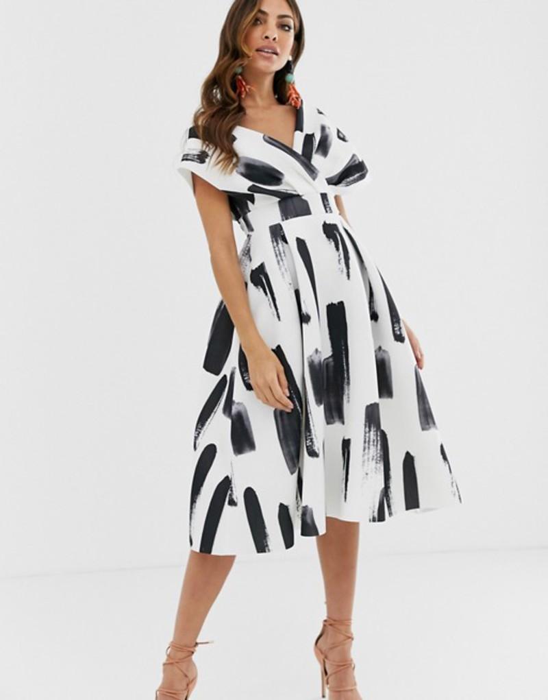 エイソス レディース ワンピース トップス ASOS DESIGN Fallen Shoulder Prom Dress with Tie Detail in brush stroke print Mono print