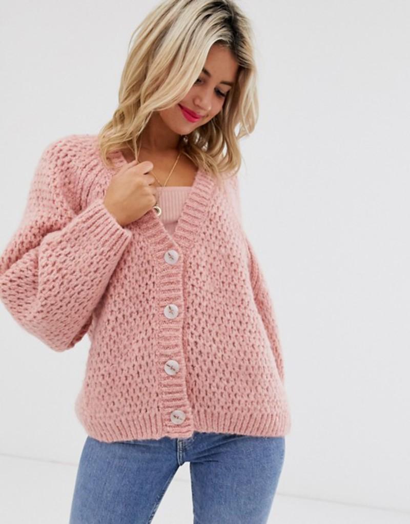 エイソス レディース カーディガン アウター ASOS DESIGN waffle stitch cardigan with volume sleeve Pink