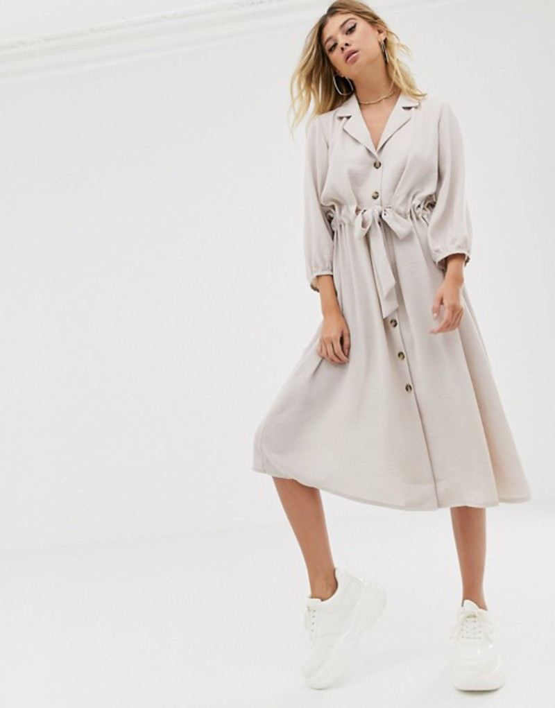 エイソス レディース ワンピース トップス ASOS DESIGN button through midi shirt dress with ruched waist Stone