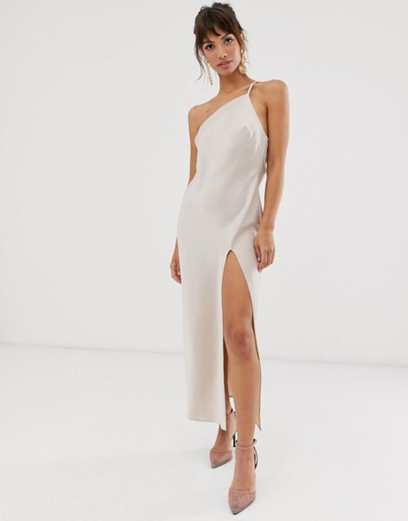エイソス レディース ワンピース トップス ASOS DESIGN one shoulder midaxi dress in satin with drape back Oyster
