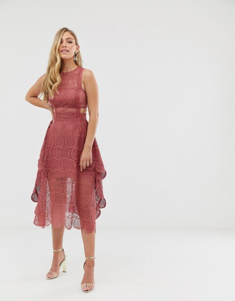 エイソス レディース ワンピース トップス ASOS DESIGN midi dress in circle broderie lace with pinny bodice Rose