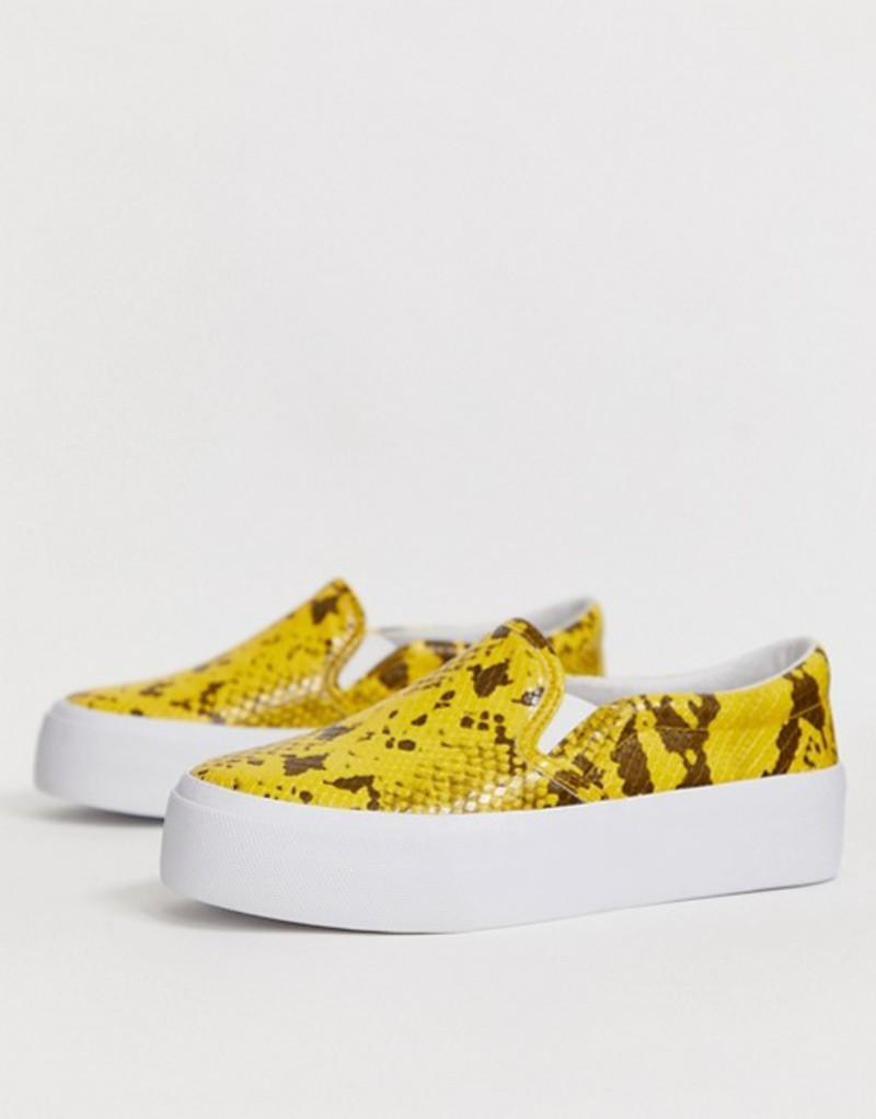 エイソス レディース スニーカー シューズ ASOS DESIGN Deacon chunky slip on plimsolls in yellow snake Yellow snake