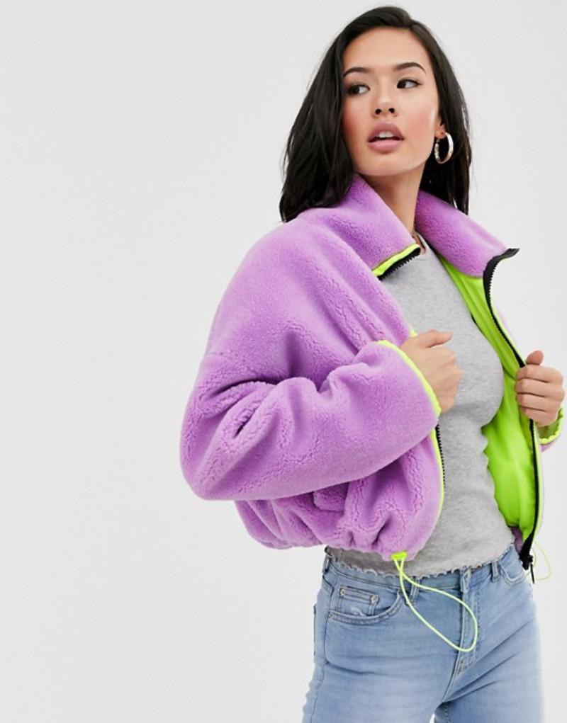 エイソス レディース ジャケット・ブルゾン アウター ASOS DESIGN cropped fleece jacket with neon binding Lilac