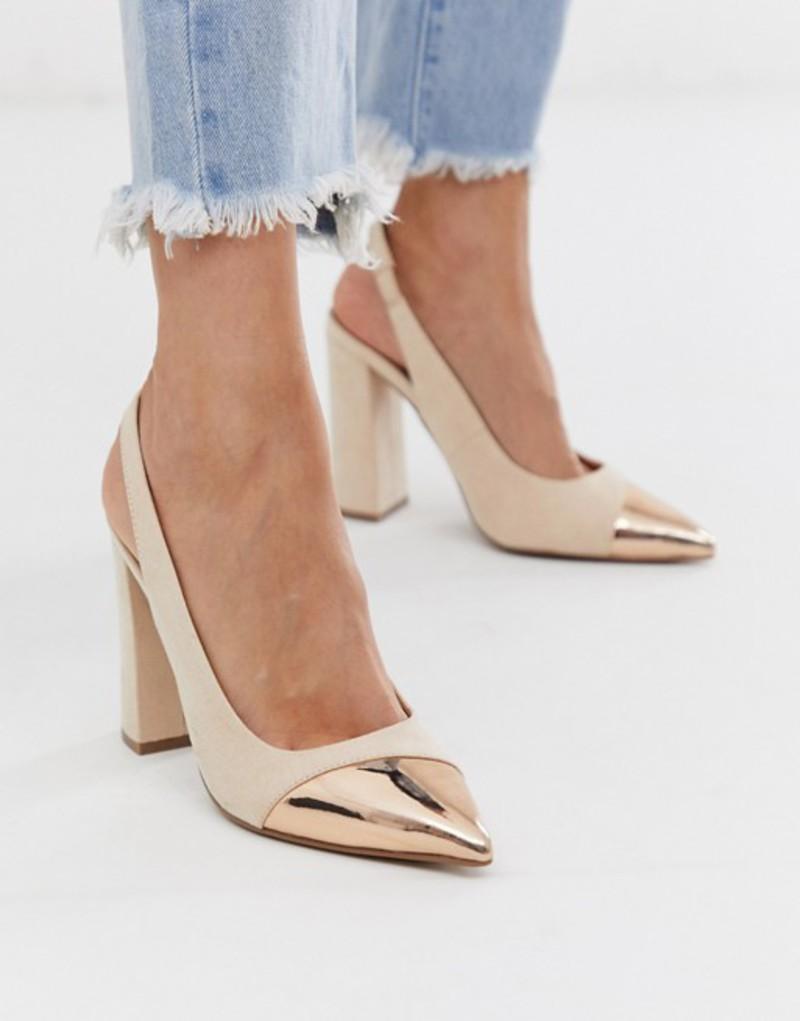 エイソス レディース ヒール シューズ ASOS DESIGN Password slingback high block heels in rose gold and beige Rose gold and beige