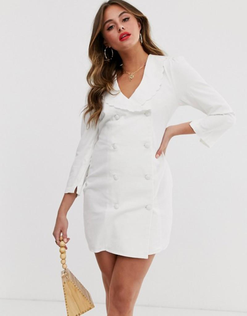エイソス レディース ワンピース トップス ASOS DESIGN soft denim frill collar button through mini blazer dress in white White