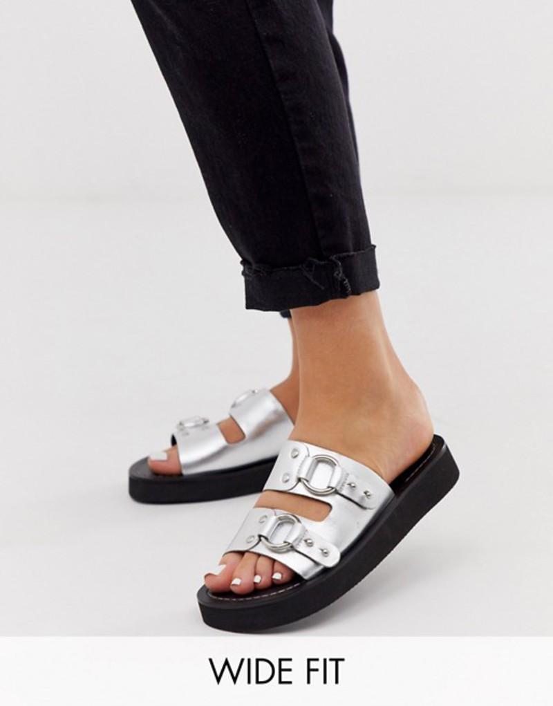 エイソス レディース サンダル シューズ ASOS DESIGN Wide Fit Ficton leather hardware flat sandals in silver Silver