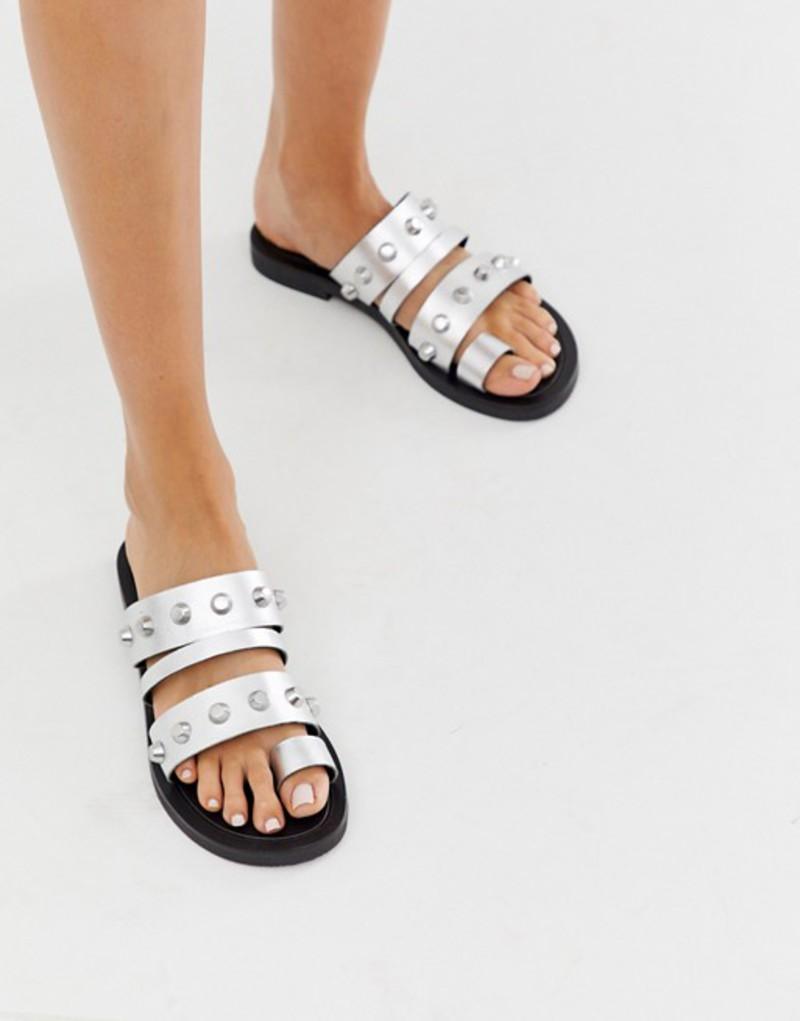 エイソス レディース サンダル シューズ ASOS DESIGN Freewheel premium leather studded toe loop sandals in silver Silver