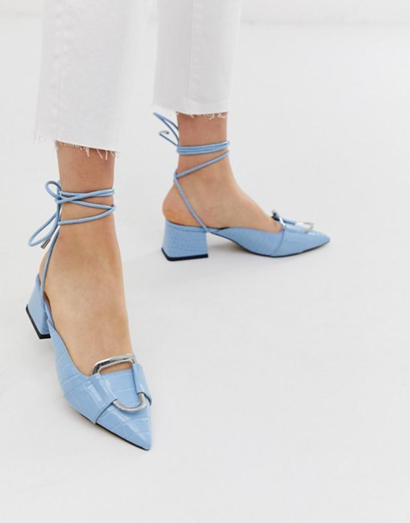 エイソス レディース ヒール シューズ ASOS DESIGN Subtract ring detail mid-heels in blue croc Pastel blue croc