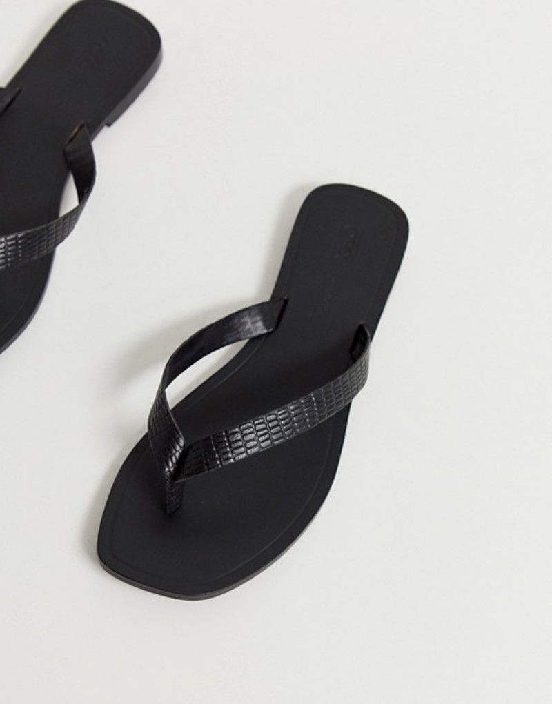 エイソス レディース サンダル シューズ ASOS DESIGN Florence leather flip flop sandals in black croc Black croc