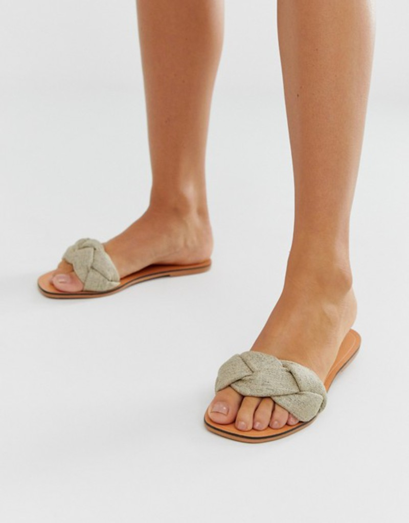 エイソス レディース サンダル シューズ ASOS DESIGN Farlow plaited flat sandals in natural Natural