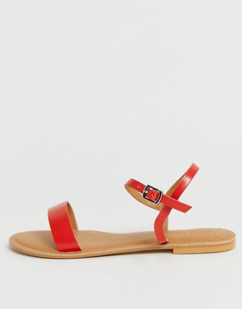 エイソス レディース サンダル シューズ ASOS DESIGN Flume leather flat sandals in red Red