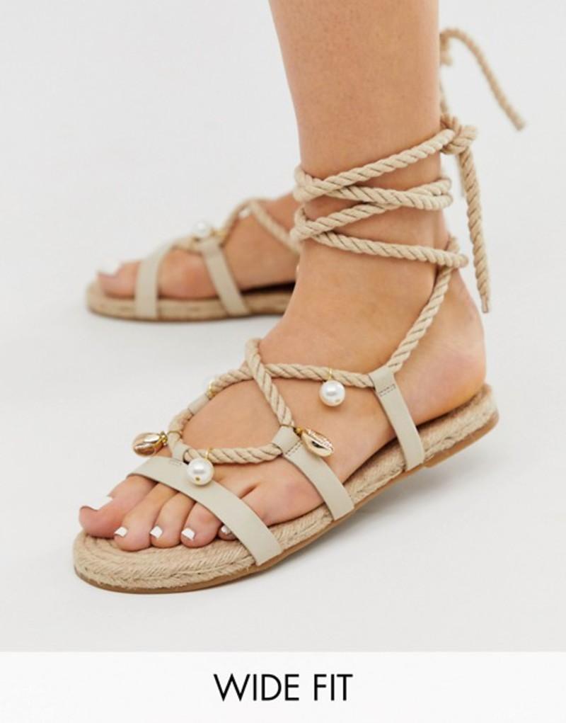 エイソス レディース サンダル シューズ ASOS DESIGN Wide Fit Vancouver embellished tie leg espadrille sandals Beige
