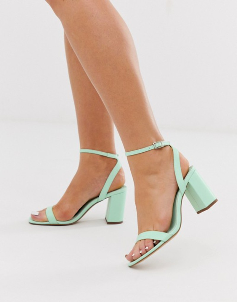 エイソス レディース サンダル シューズ ASOS DESIGN Hong Kong barely there block heeled sandals in mint Mint green