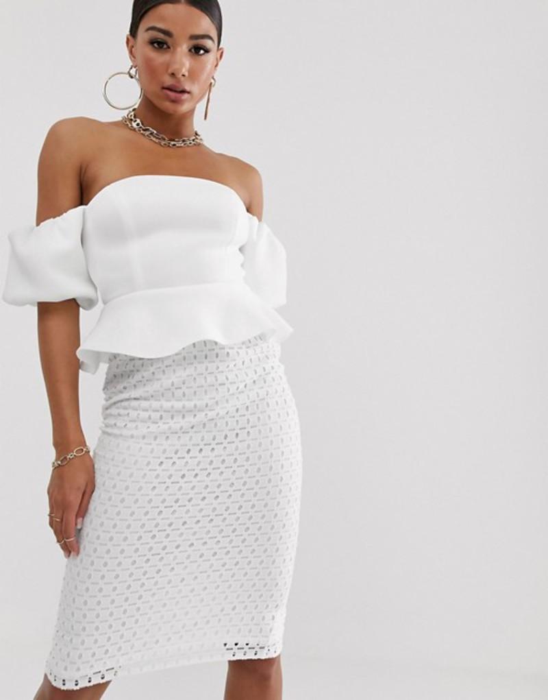 エイソス レディース ワンピース トップス ASOS DESIGN bubble sleeve lace skirt midi dress Ivory