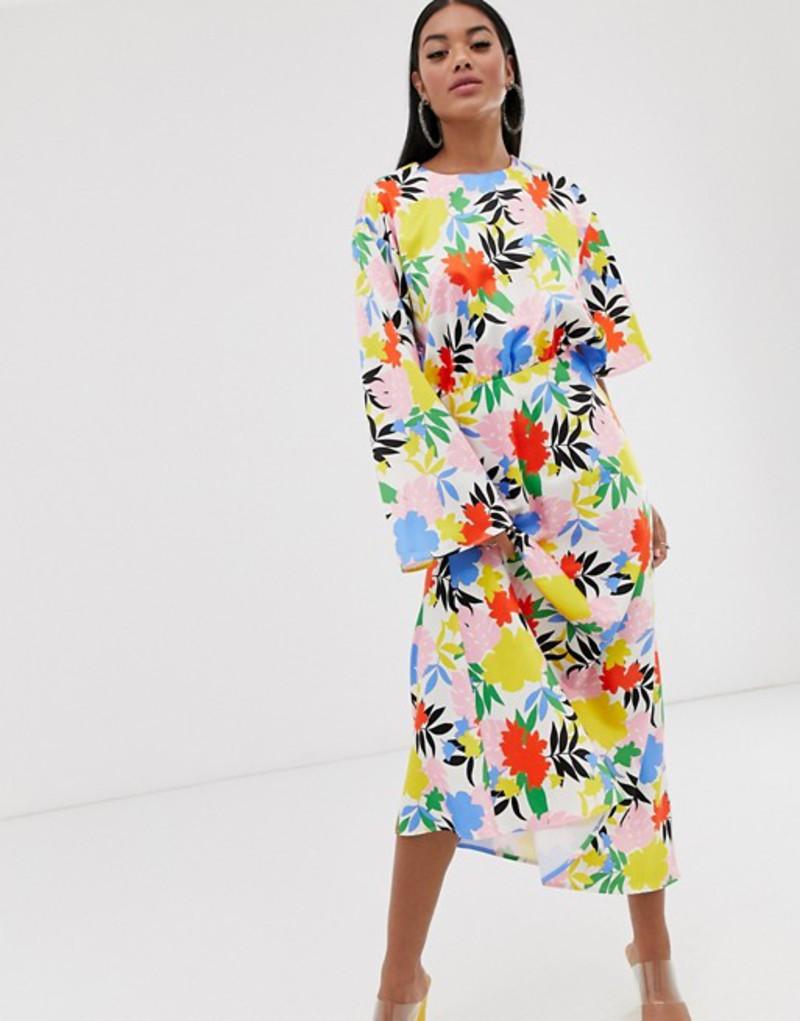 エイソス レディース ワンピース トップス ASOS DESIGN asymmetric sleeve maxi dress in bright floral print Bright floral