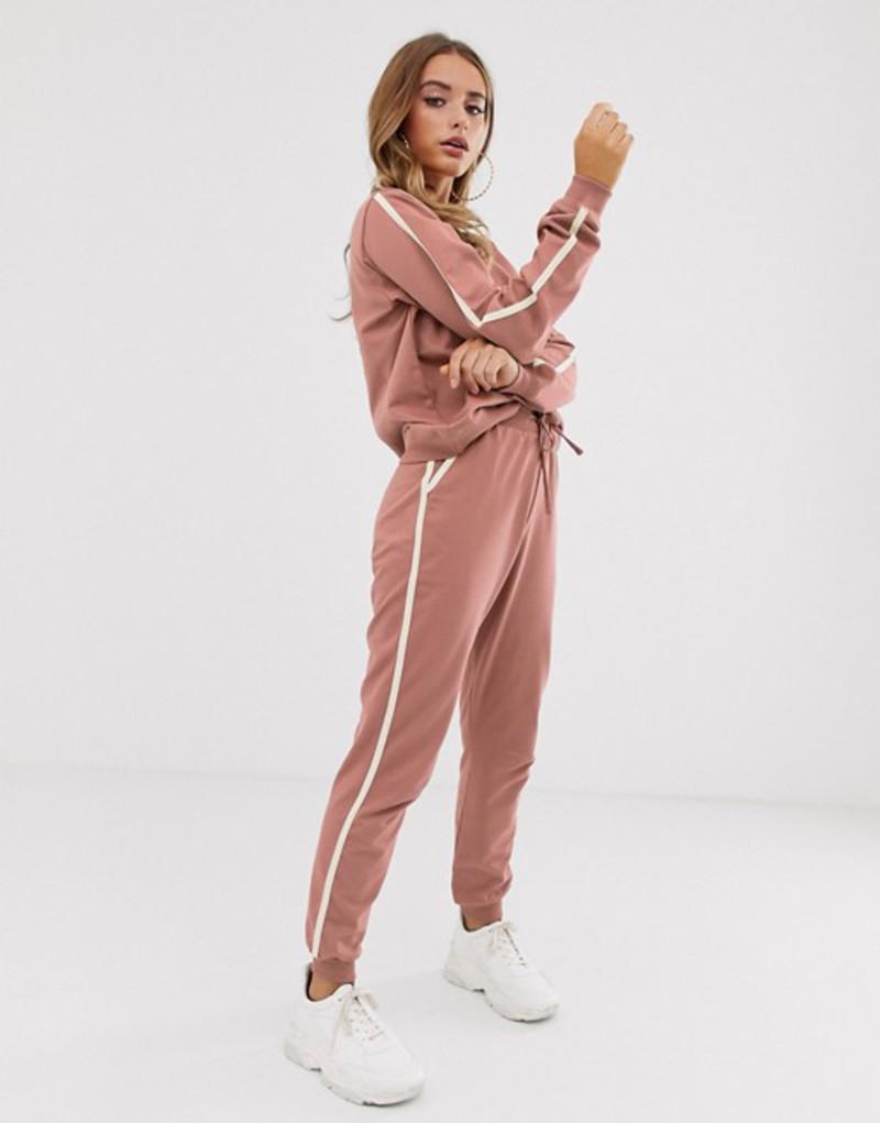 エイソス レディース パーカー・スウェット アウター ASOS DESIGN tracksuit cute sweat / basic jogger with tie with contrast binding Rose