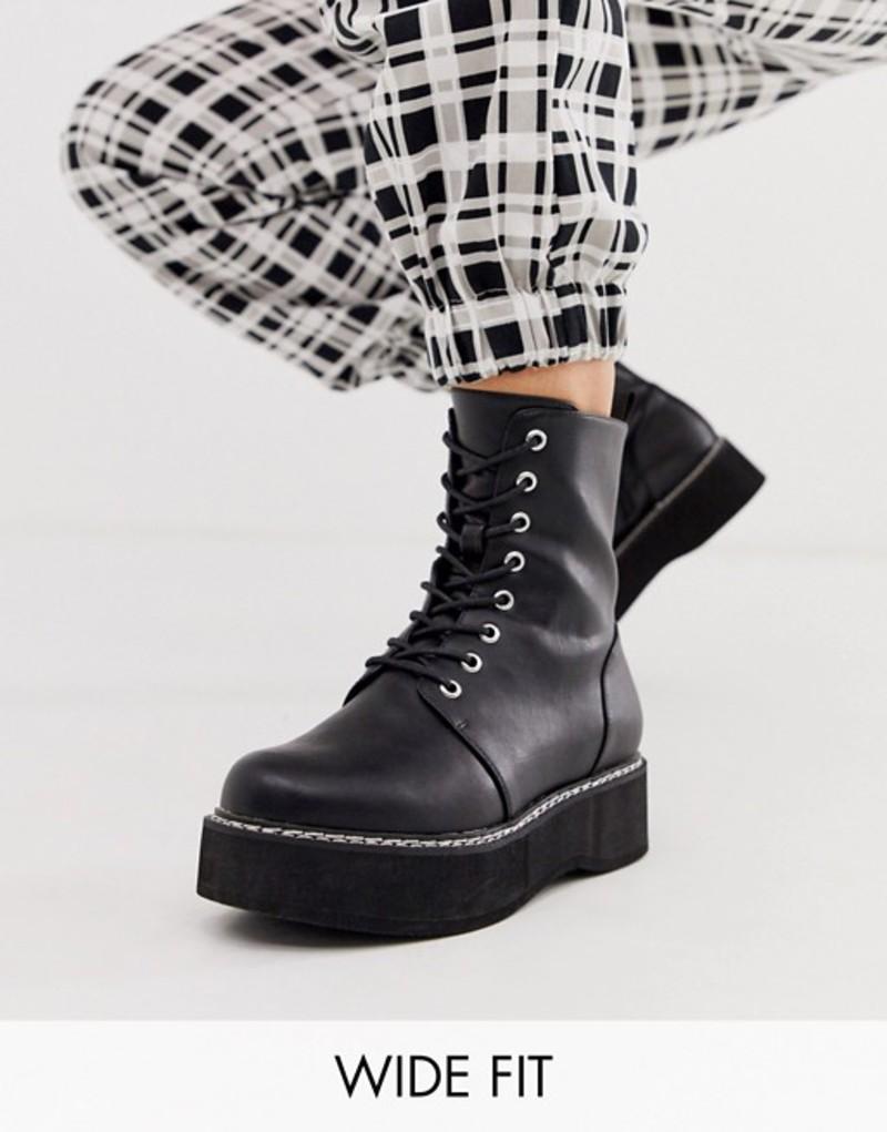 エイソス レディース ブーツ・レインブーツ シューズ ASOS DESIGN Wide Fit Alva chunky lace up boots in black Black