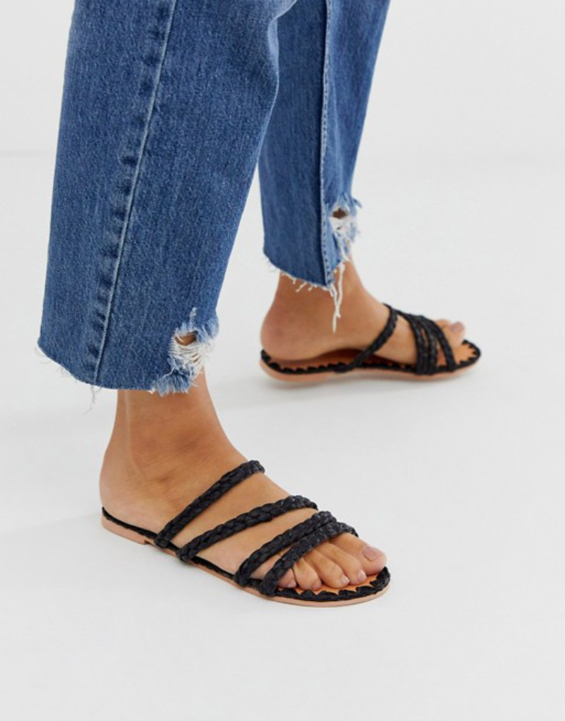 エイソス レディース サンダル シューズ ASOS DESIGN Felix premium raffia flat sandals in black Black