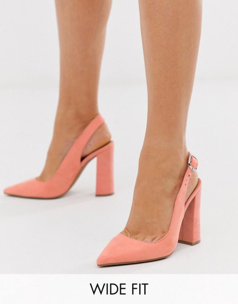 エイソス レディース ヒール シューズ ASOS DESIGN Wide Fit Penley slingback high heels in peach Peach