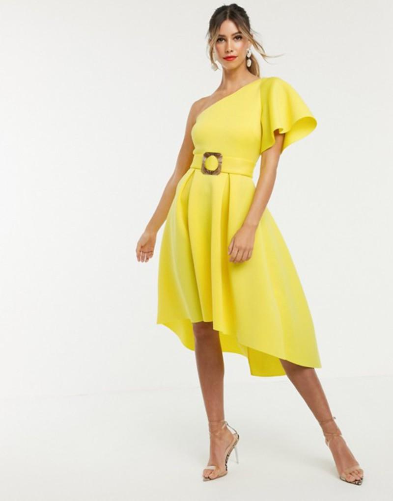 エイソス レディース ワンピース トップス ASOS DESIGN one shoulder belted prom dress Yellow