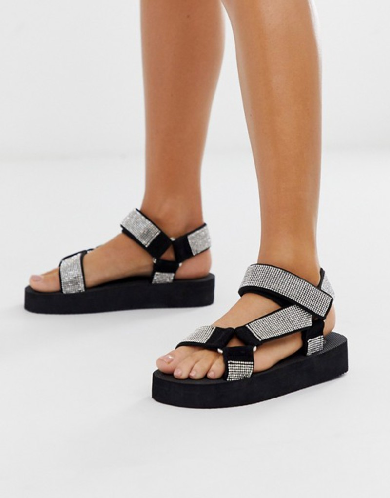 エイソス レディース サンダル シューズ ASOS DESIGN Frontline sporty sandals in rhinestone Diamonte
