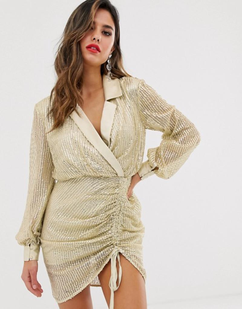 エイソス レディース ワンピース トップス ASOS DESIGN embellished tux mini dress with contrast satin detail Ivory